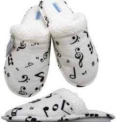 Music Note Flannel Slipppers - White/Black, XL