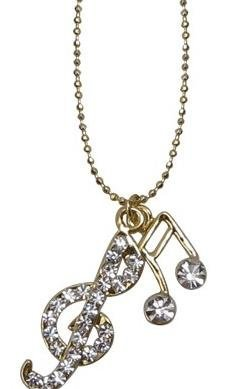View larger image of Music Note & G-Clef Necklace with Rhinestones - Clear/Gold