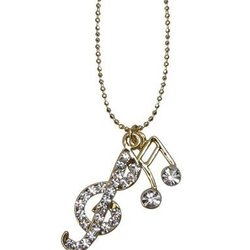 Music Note & G-Clef Necklace with Rhinestones - Clear/Gold