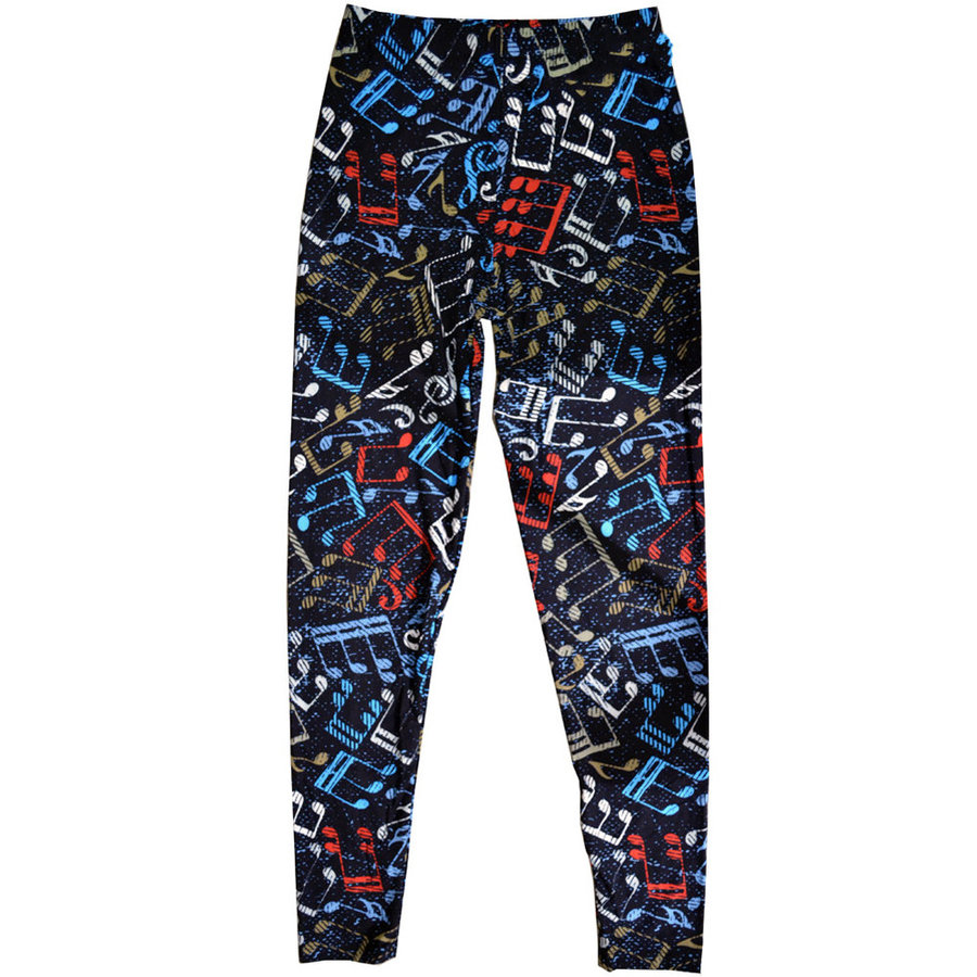 View larger image of Music Note Leggings - Black/Multi, One Size