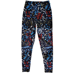 Music Note Leggings - Black/Multi, One Size