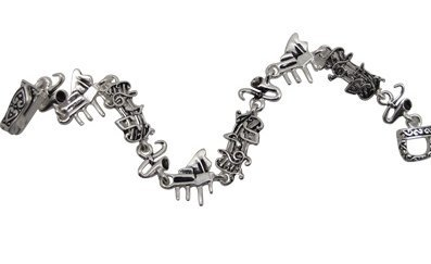 View larger image of Music Note Magnetic Link Bracelet - Silver, 6-1/2