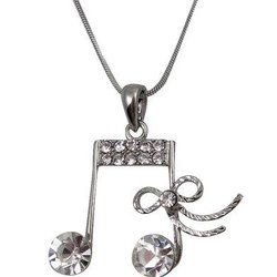 Music Note Necklace with Bow and Rhinestones