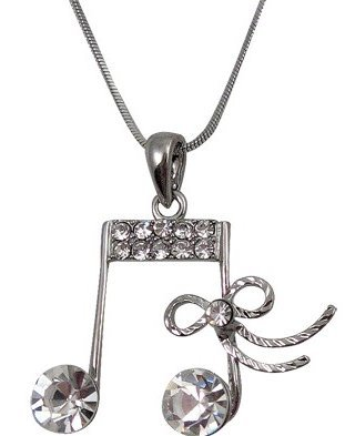 View larger image of Music Note Necklace with Bow and Rhinestones