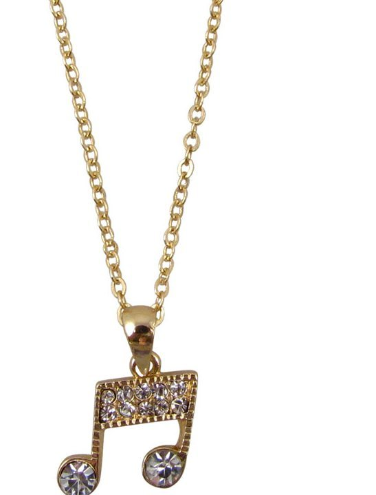 View larger image of Music Note Necklace with Rhinestones - Gold