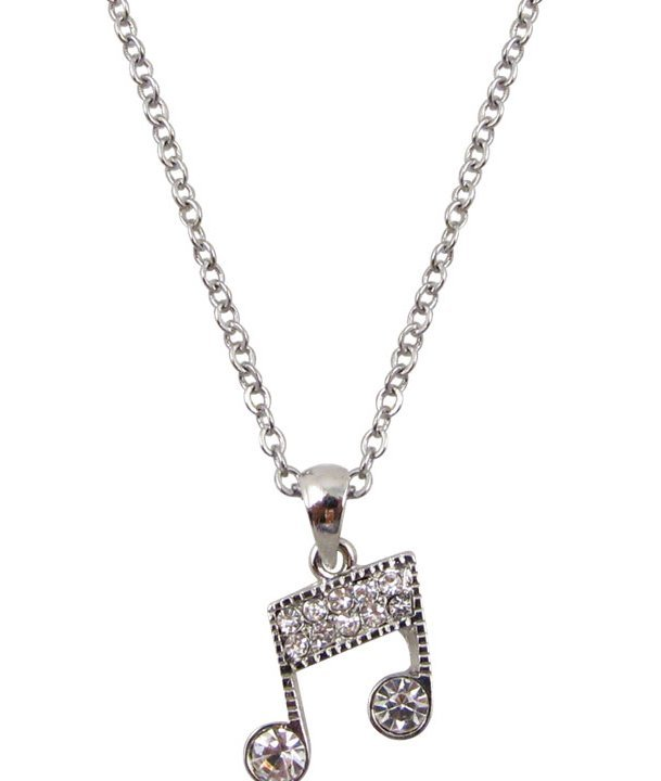 View larger image of Music Note Necklace with Rhinestones - Silver