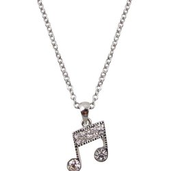 Music Note Necklace with Rhinestones - Silver