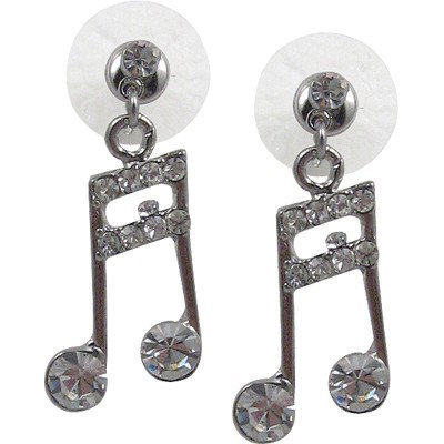View larger image of Music Note Rhinestone Earrings - Clear