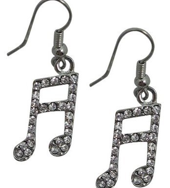 View larger image of Music Note Rhinestone Earrings