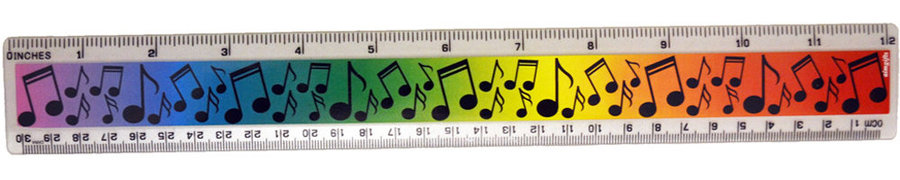 View larger image of Music Note Ruler - Rainbow, 12