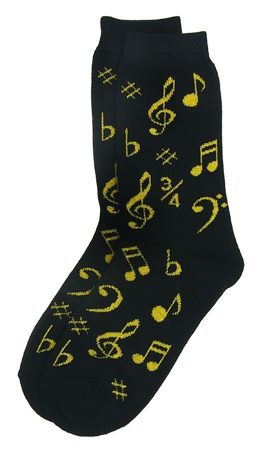 View larger image of Music Note Socks - Black/Gold, Women's