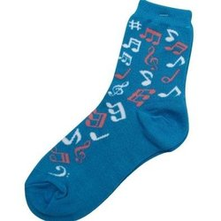 Music Note Socks - Blue