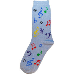 Music Note Socks - Metallic Blue