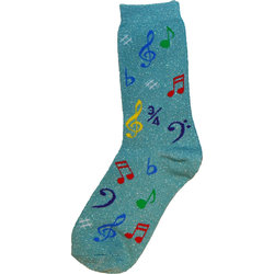 Music Note Socks - Metallic Mint