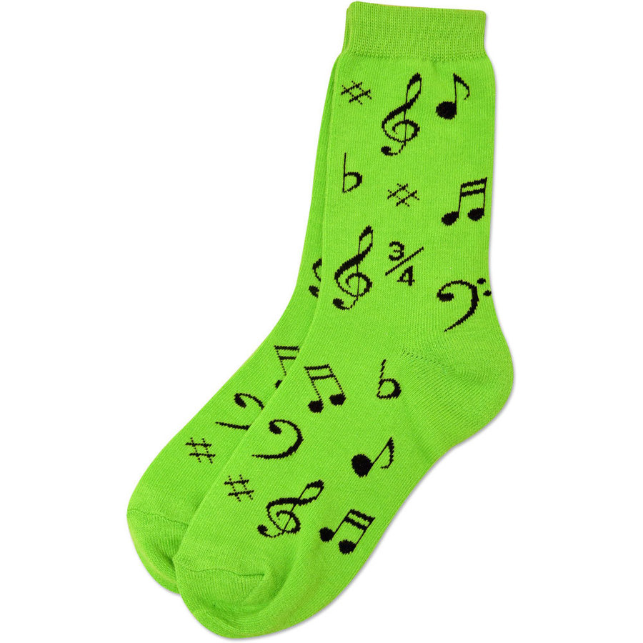 View larger image of Music Note Socks - Neon Green/Black, Women's