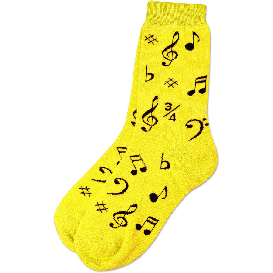 View larger image of Music Note Socks - Neon Yellow/Black, Women's