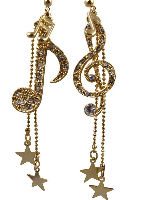 View larger image of Music Note & Stars Rhinestone Earrings - Gold