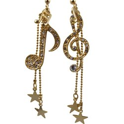 Music Note & Stars Rhinestone Earrings - Gold