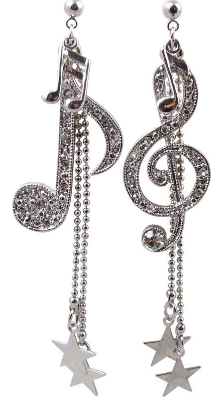 View larger image of Music Note & Stars Rhinestone Earrings - Silver