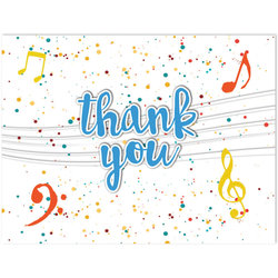Music Note Thank You Cards - 8 Pack