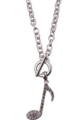 View larger image of Music Note Toggle Necklace with Rhinestones - Silver