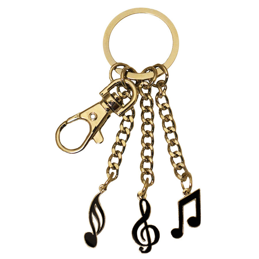 View larger image of Music Note Trio Keychain - Gold