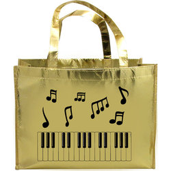 Music Notes and Keyboard Tote Bag - Metallic Gold