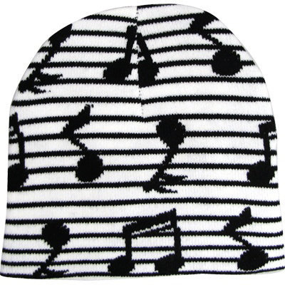 View larger image of Music Notes Beanie - White/Black