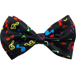Music Notes Bow Tie - Black/Multi