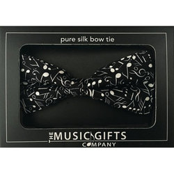 Music Notes Bow Tie - Black/White