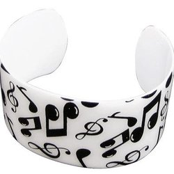 Music Notes Cuff Bracelet - White/Black