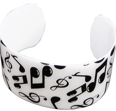 View larger image of Music Notes Cuff Bracelet - White/Black
