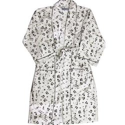 Music Notes Flannel Robe