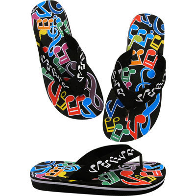 View larger image of Music Notes Flip Flops - Black/Multi, Small