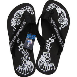 Music Notes Flip Flops - Black/White, Medium
