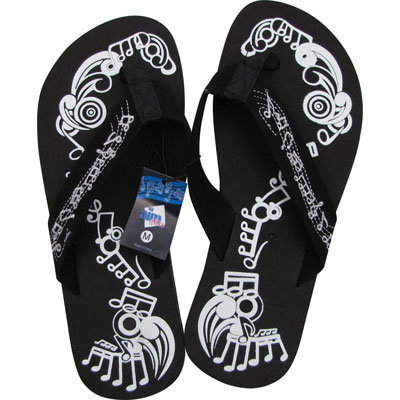 View larger image of Music Notes Flip Flops - Black/White, Small