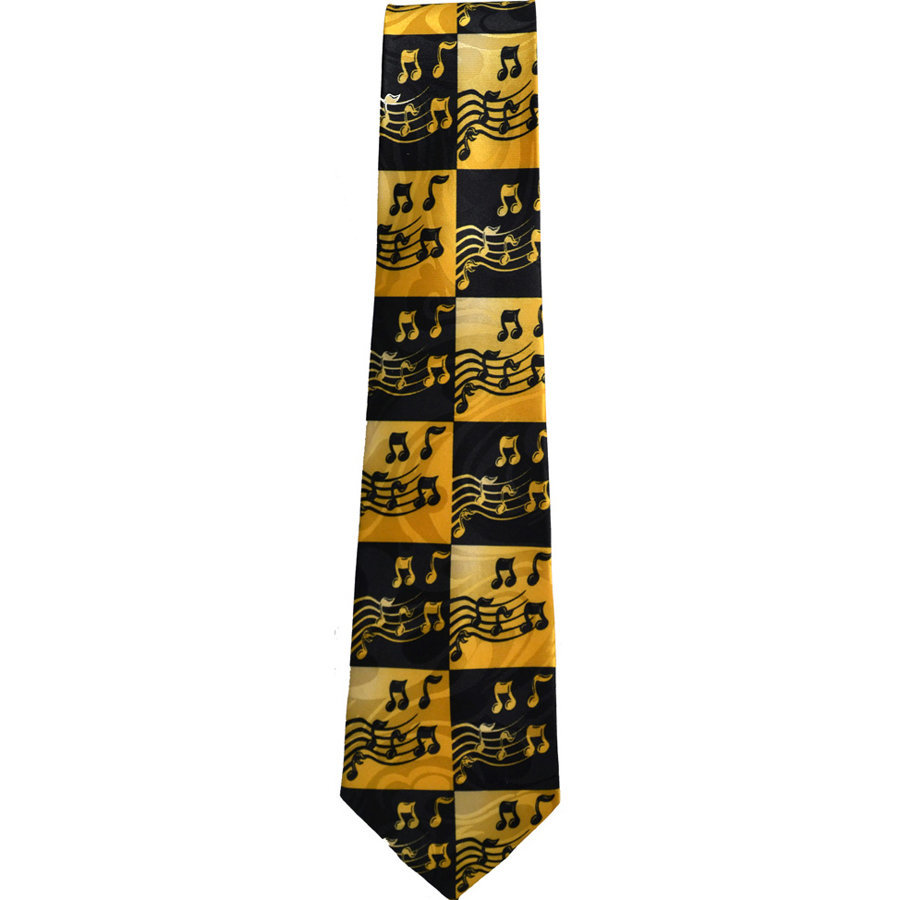 View larger image of Music Notes in Squares Tie - Yellow/Black