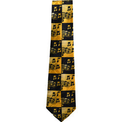 Music Notes in Squares Tie - Yellow/Black