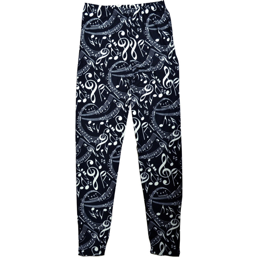 View larger image of Music Notes Leggings - One Size, Black/White