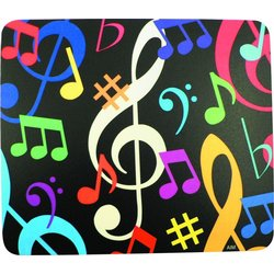 Music Notes Mouse Pad - Black/Multi