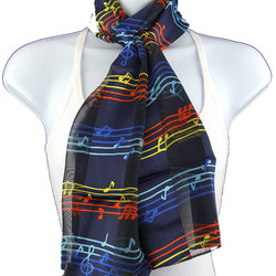 Music Notes Scarf - Navy