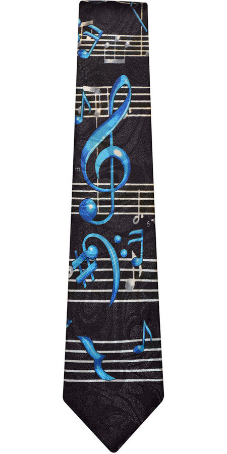 View larger image of Music Notes Tie - Black/Blue