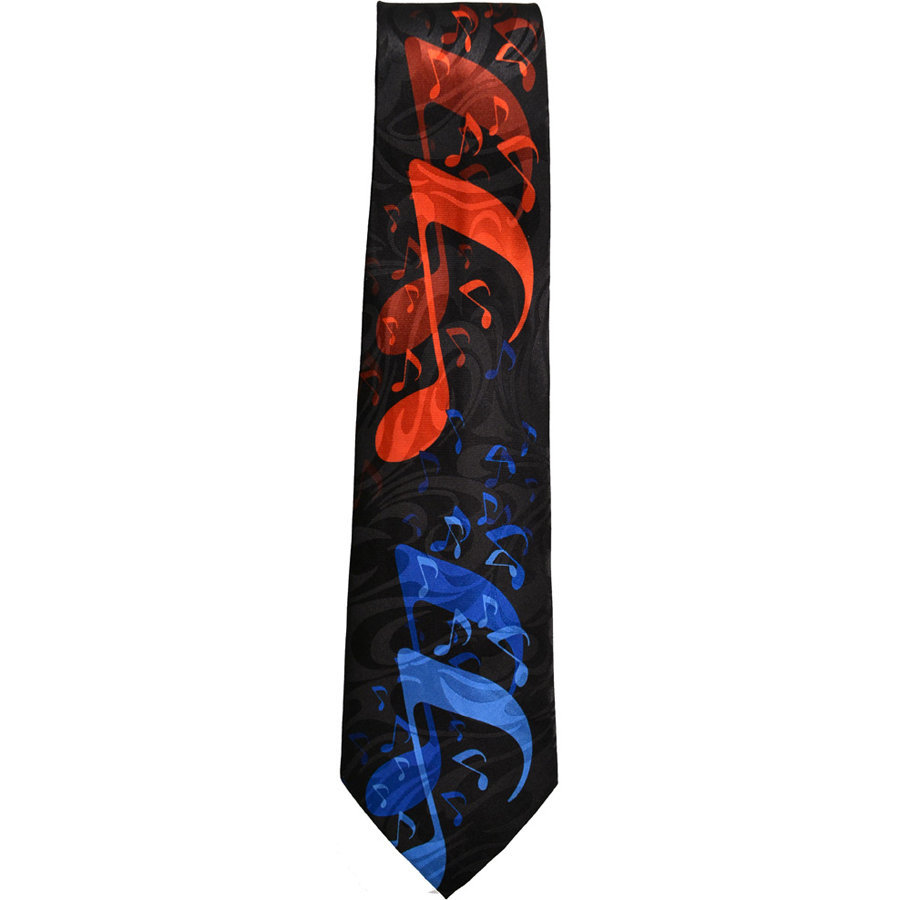 View larger image of Music Notes Tie - Black/Red/Blue