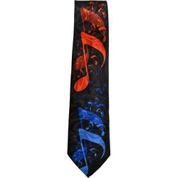 Music Notes Tie - Black/Red/Blue
