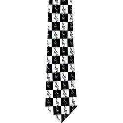 Music Notes Tie - Black/White