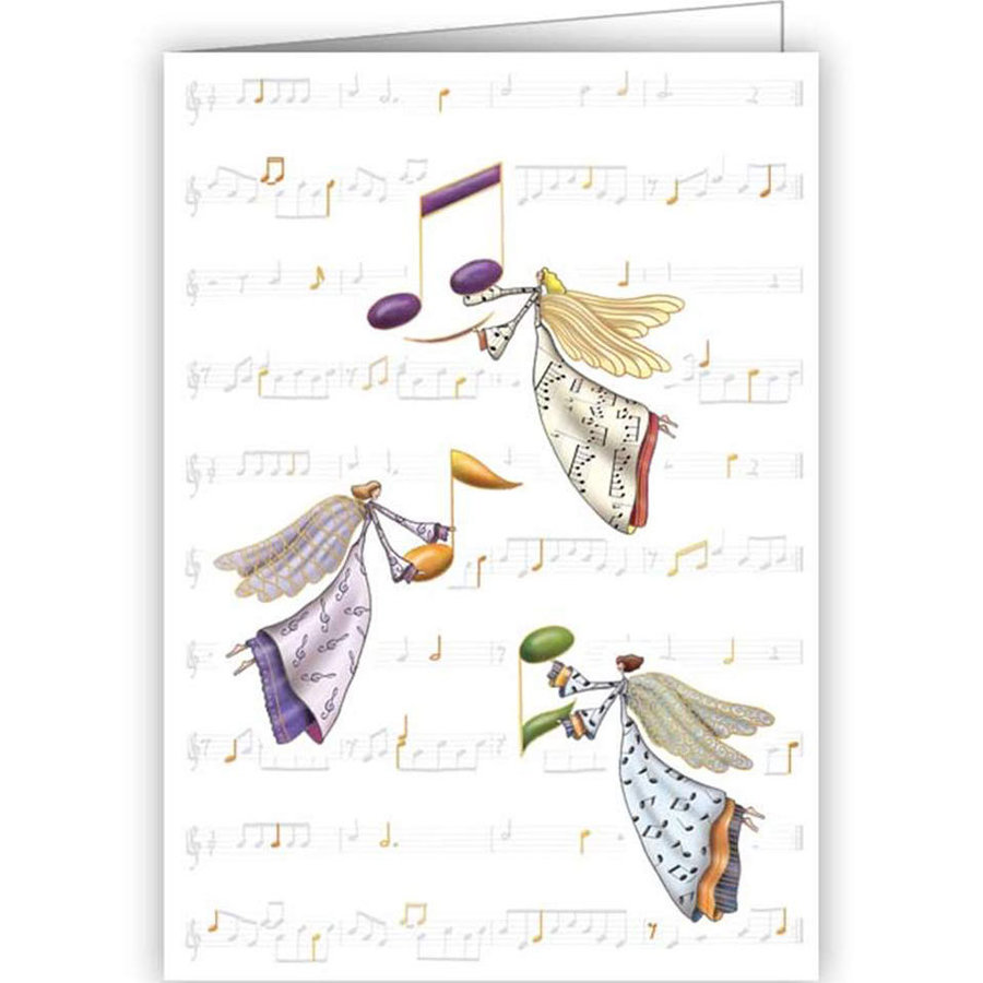 View larger image of Music Notes with Angels Christmas Card