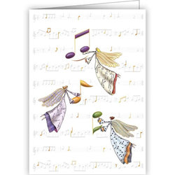 Music Notes with Angels Christmas Card