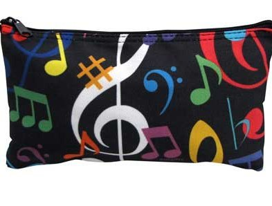 View larger image of Music Notes Zipper Pouch - Black/Multi