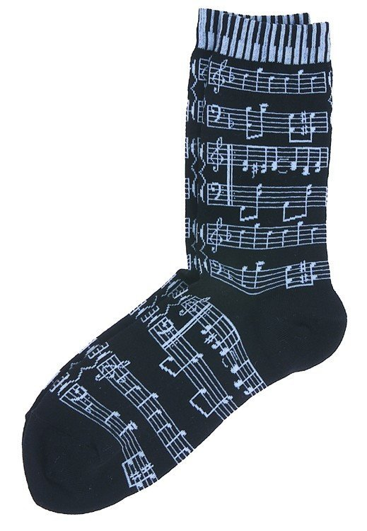 View larger image of Music Score & Keyboard Socks - Black/White, Women's