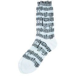 Music Score & Keyboard Socks - White/Black, Women's